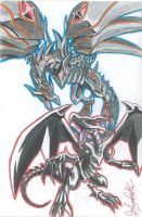 Red-Eyes Black Dragon and Red-Eyes Darkness Dragon by Joakoart25