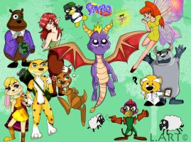 Spyro and the gang anime style by LilyArt2006