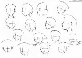 Anime girl heads- practice by izka197