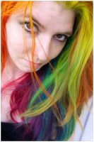 Bright Rainbow Hair by lizzys-photos