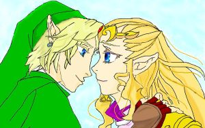 Zelda and Link by Gisux