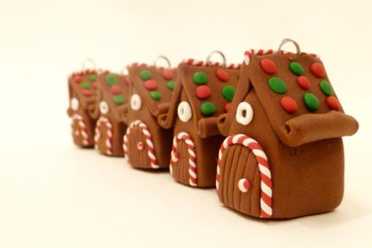 Miniature Gingerbread Fairy House Ornaments by FlyingFrogCreations