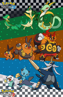 Pokemon B-W 2: Starter Pokemon Families by Tails19950