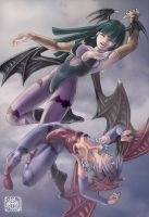 Morrigan and Lilith by irikoy
