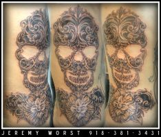 Skull engrave design tattoo by JeremyWorst