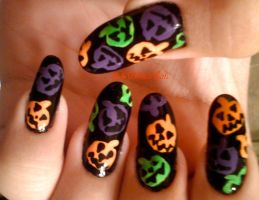 Jack O Lantern Sprinkles Nails by SoCUTEicleNails