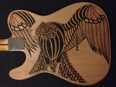 Telecaster Pyrography (back view) by DC-Pyrography