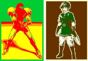 Metroid and The Legend of Zelda Pop Art by TheGreatDevin