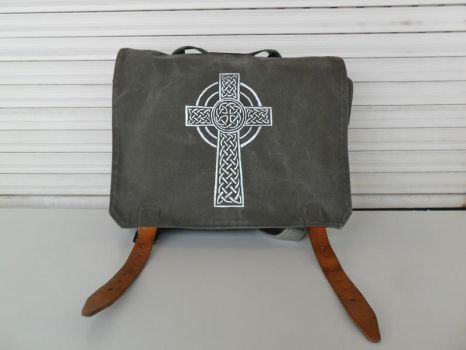 Celtic Cross Hand Painted on a Vintage Army Bag by DesignByWendy