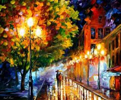 Romantic night oil painting on canvas by L.Afremov by Leonidafremov