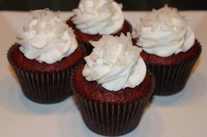 Red Velvet Coconut Cupcakes by Deathbypuddle