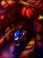Sonic running though China by Omiza