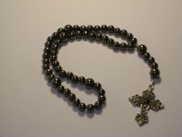Black metal compact rosary by mca2008