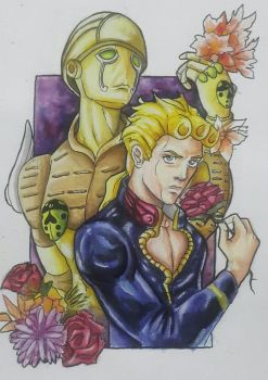 Giorno Giovanna and Gold Experience  by HellaHappy3