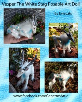 Vesper The White Stag Posable Art Doll by Eviecats