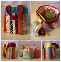 Patchwork craft bags by JesterofEvil