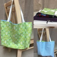 Green and Blue Reversible Tote Bag by chishio-kyuuban