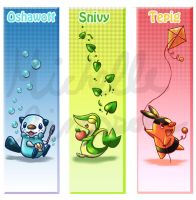 Unova starter bookmarks by michellescribbles
