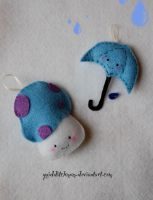 plushie rainy day ornaments by quidditchmom