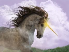 Unicorn with Golden glow by Elle-Arden