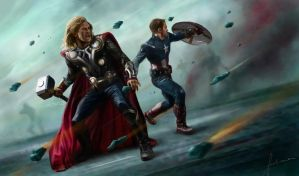 The Avengers: Thor and Captain America by dewmanna