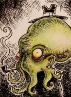 Cthulhu's Dad ACEO sketch card-FOR SALE by thebigduluth