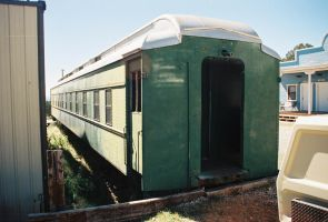 Beat-Up Old Green and White Railcar by Texas1964