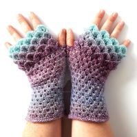 Frosted Lilac Custom Dragon gloves by FearlessFibreArts
