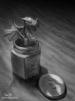 Daily Painting #47  - Dragon in Jar (genuine wyrm) by maugryph