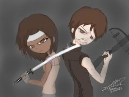 Badass have returned .: Michonne and Daryl:. by MarombieZombiekiller