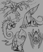 Monster Quick Sketches by SketchMonster1