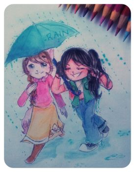 rain and umbrella by neko-kumicho-chan