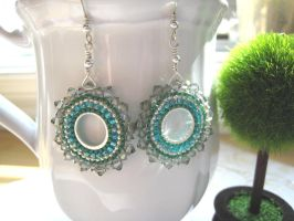 Beaded Teal Hoop Earrings by albitas