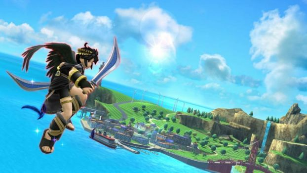 Dark Pit flies to the island by user15432