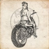 Motorcycle Pinup Girl Sketch by benke33