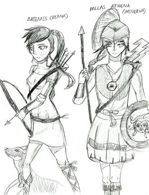 Greek Mythology: Athena and Artemis (Sketch)