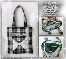 Black-white plaid BIG BOW Bag by BlueDove415