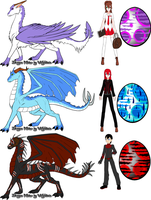 Jane, Selena, Draken, and dragons by Maria65