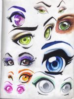 Eyes and Brows-pencilcrayon by Ashamawee