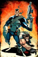 Red J PUNISHER N WOLVERINE by dcjosh
