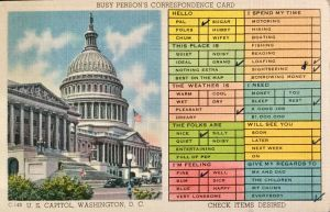 Busy Person's Correspondence Card - Washington DC by Yesterdays-Paper