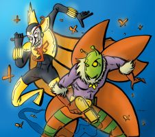 The Monarch VS. Killer Moth by Grodandor