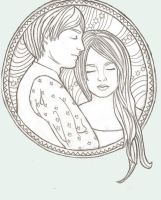 Contentment-Line Drawing by e5ther