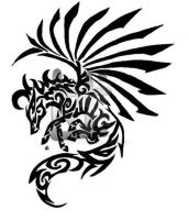 Pegasus Tribal Tattoo by Skrayle