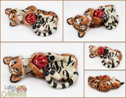 Tiger Cub with Marble by LeiliaClay