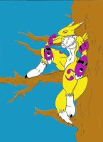 Renamon in a tree by madmick2299
