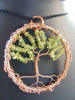 peridot and copper tree by BacktoEarthCreations