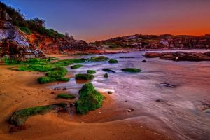 Mossy rocks nestle in the sand by Kounelli1