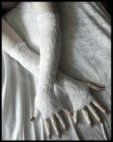 White Lace Arm Warmers by ZenAndCoffee