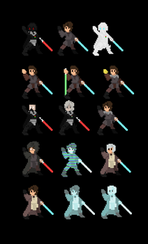 Star Wars Sprites: Anakin Skywalker by TentativelyTemporary
